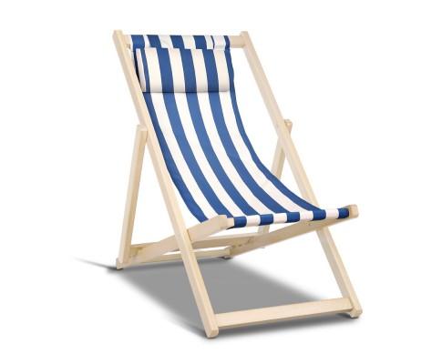 Artiss Fodable Beach Sling Chair - Blue & White
