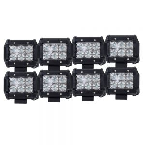8X 4inch CREE LED Work Light Bar Flood Beam Offroad Lamp Save On 35W/45W Reverse
