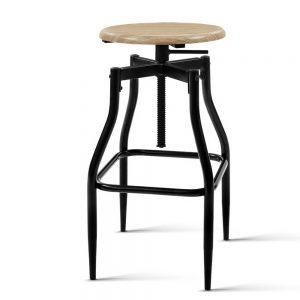Artiss 2 x Vintage Kitchen Wooden Bar Stools Swivel Industrial Bar Stool Retro