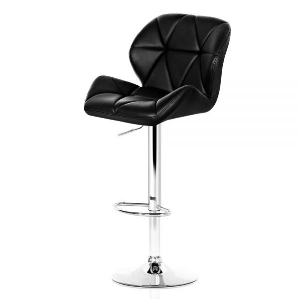 Artiss 2x Bar Stools Gas Lift Kitchen Swivel Chairs Leather Chrome Black