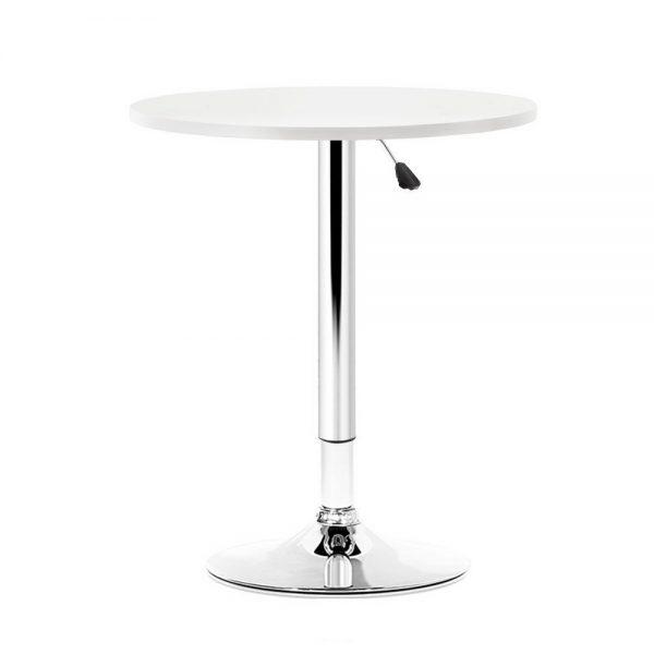 Artiss Adjustable Bar Table Gas Lift Wood Metal White