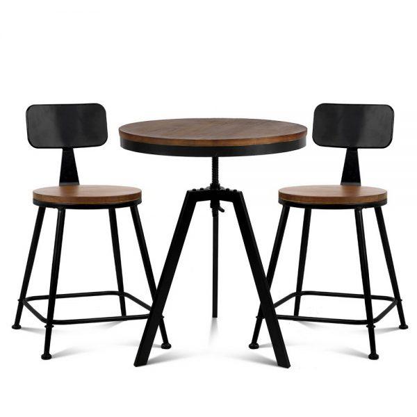 Artiss Bar Table and Stools set Vintage Retro Elm Wood Metal Brown