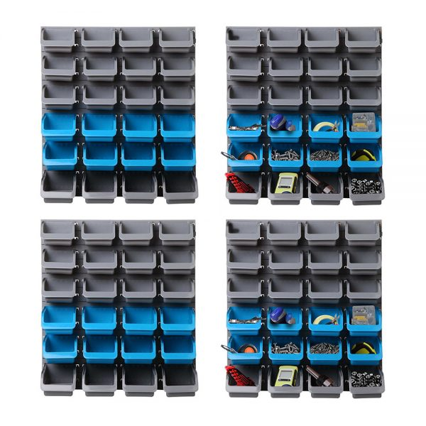 Giantz 96 Storage Bin Rack Wall-Mounted Tool Parts Garage Shelving Organiser