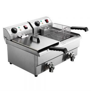 Devanti Commercial Electric Deep Fryer Twin Frying Basket Chip Cooker Countertop