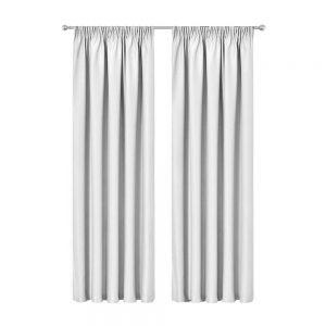 Artqueen 2X Pinch Pleat Pleated Blockout Curtains White 240cmx230cm