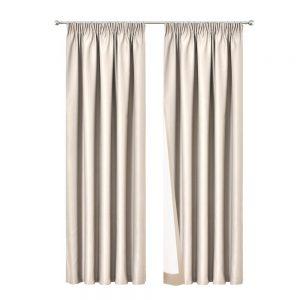 Art Queen 2 Pencil Pleat 240x213cm Blockout Curtains - Sand