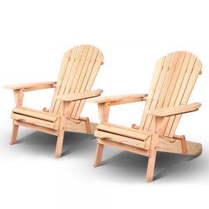 Gardeon Patio Furniture Outdoor Chairs Beach Chair Wooden Adirondack Recliner Garden Lounge 2PC