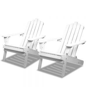 Gardeon Patio Furniture Outdoor Chairs Beach Chair Wooden Adirondack Garden Lounge Recliner 2PC White