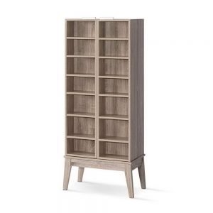 Artiss CD DVD Media Storage Display Shelf Folding Cabinet Bookshelf Bluray Rack Oak
