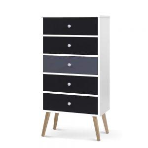 Artiss 5 Chest of Drawers Dresser Table Tallboy Storage Cabinet Furniture Black