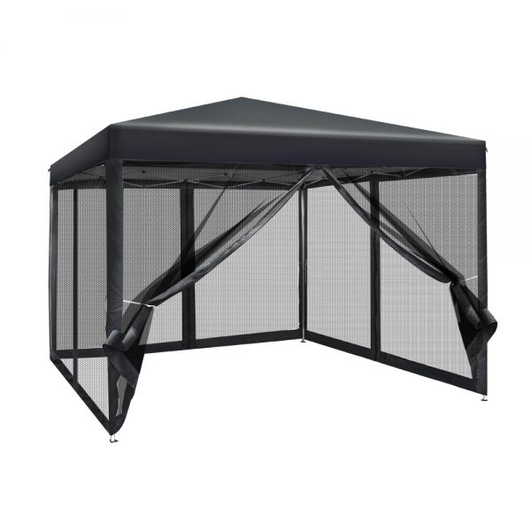 Instahut 3x3m Pop Up Gazebo Wedding Marquee Mesh Side Walls Outdoor Canopy Black