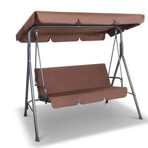 Gardeon 3 Seater Outdoor Canopy Swing Chair - Coffee