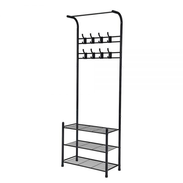 Artiss Clothes Rack Coat Stand Garment Portable Hanger Airer Organiser Shoe Storage Metal Black