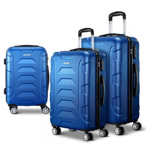 Wanderlite 3PCS Carry On Luggage Sets Suitcase TSA Travel Hard Case Lightweight Blue