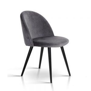 Artiss Velvet Modern Dining Chair - Dark Grey
