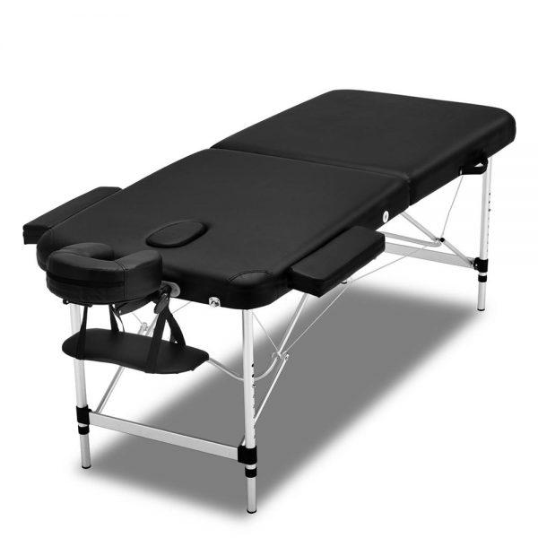 Zenses 2 Fold Portable Aluminium Massage Table Massage Bed Beauty Therapy Black 55cm