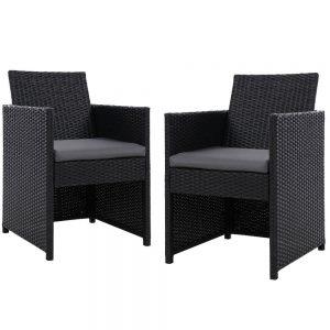 2x Outdoor Dining Chairs Wicker Chair Patio Garden Furniture Setting Lounge Cafe Cushion Bistro Set Gardeon Black