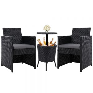 Gardeon Outdoor Furniture Wicker Chairs Bar Table Cooler Ice Bistro Set Bucket Patio Coffee