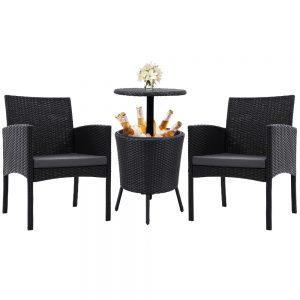 Gardeon Outdoor Furniture Wicker Chairs Bar Table Cooler Ice Bucket Patio Bistro Set Coffee