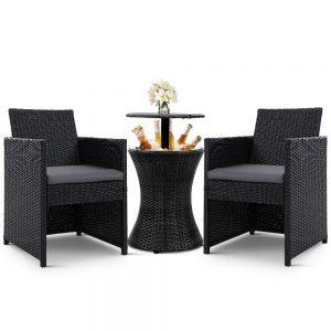 Gardeon Outdoor Furniture Bar Table Set Wicker Chairs Cooler Ice Bucket Patio Bistro Set Coffee
