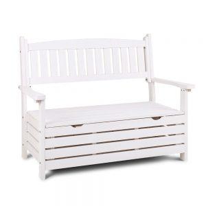 Gardeon Outdoor Storage Bench Box Wooden Garden Chair 2 Seat Timber Furniture White