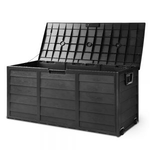 Giantz 290L Outdoor Storage Box Lockable Weatherproof Garden Deck Toy Shed ALL BLACK