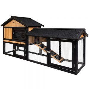 i.Pet Rabbit Hutch Hutches Large Metal Run Wooden Cage Waterproof Outdoor Pet House Chicken Coop Guinea Pig Ferret Chinchilla Hamster 165cm x 52cm x 86cm
