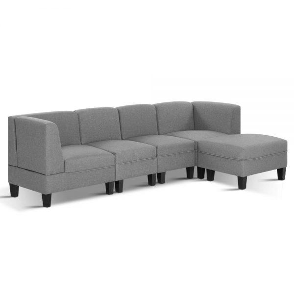 Artiss 5 Seater Sofa Set Bed Modular Lounge Chair Chaise Fabric