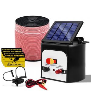 Giantz 8KM Solar Electric Fence Energiser Energizer 0.3J + 2000M Electrical Fencing Wire Tape Farm