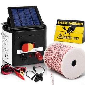 Giantz 3km Solar Electric Fence Energiser Charger with 500M Tape and 25pcs Insulators