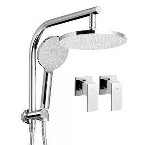 WELS Round 9 inch Rain Shower Head and Taps Set Bathroom Handheld Spray Bracket Rail Chrome