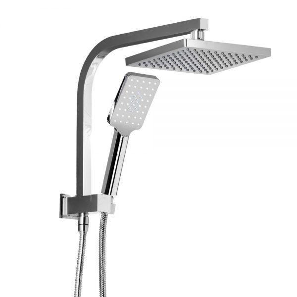 WELS 8 inch Rain Shower Head Square Wall Bathroom Arm Handheld Spray Bracket Rail Chrome