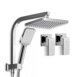 WELS Square 8 inch Rain Shower Head and Taps Set Bathroom Handheld Spray Bracket Rail Chrome