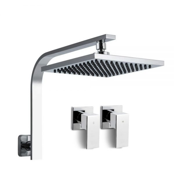"WELS 8"" Rain Shower Head Set Bathroom Gooseneck Square Taps Hand Held High Pressure DIY"