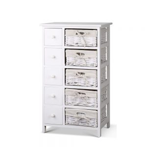 Artiss 5 Basket Storage Drawers - White