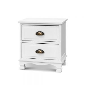 2x Artiss Bedside Tables Drawers Side Table Nightstand Vintage Storage Cabinet