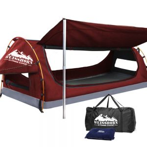 WEISSHORN King Single Camping Swags Canvas Swag Tent with Mattress Red