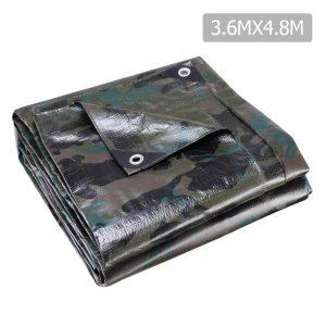 Instahut 3.6x4.8m Canvas Tarp Heavy Duty Camping Poly Tarps Tarpaulin Cover Camouflage