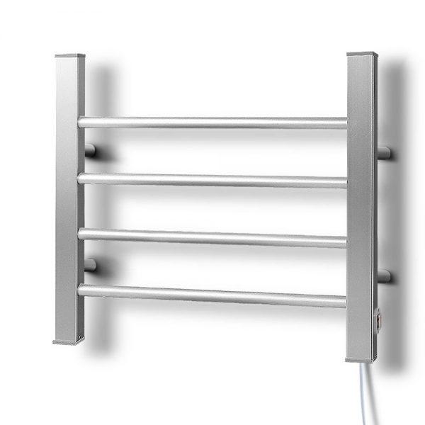 DEVANTI Electric Heated Ladder Towel Rails Bathroom Dryer Clothes Warmer 4 Racks Round Bars Rungs