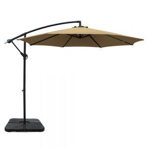 Instahut 3M Umbrella with 50x50cm Base Outdoor Umbrellas Cantilever Sun Stand UV Garden Beige