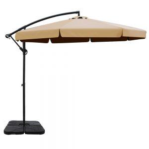 Instahut 3M Umbrella with 50x50cm Base Outdoor Umbrellas Cantilever Patio Sun Beach UV Beige
