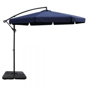 Instahut 3M Umbrella with 50x50cm Base Outdoor Umbrellas Cantilever Patio Sun Beach UV Navy