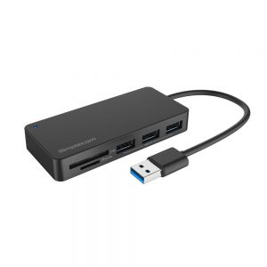 Simplecom CH368 3 Port USB 3.0 Hub with Dual Slot SD MicroSD Card Reader