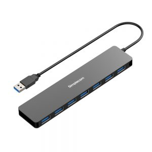 Simplecom CH372 Ultra Slim Aluminium 7 Port USB 3.0 Hub Black
