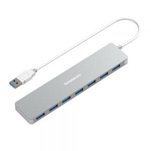 Simplecom CH372 Ultra Slim Aluminium 7 Port USB 3.0 Hub Silver