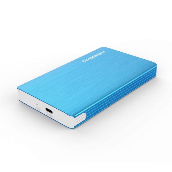 Simplecom SE220 Aluminium Tool-Free 2.5'' SATA HDD/SSD to USB 3.1 Type C Enclosure Blue