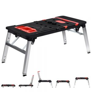 7in1 Work Bench Platform Station Workbench Hand Truck Trolley Sawhorse Creeper Black