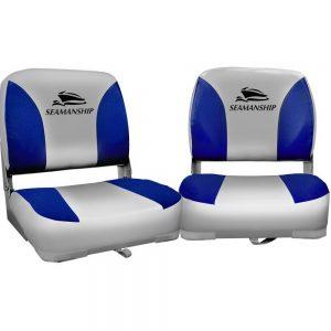 Seamanship Set of 2 Folding Swivel Boat Seats - Grey & Blue