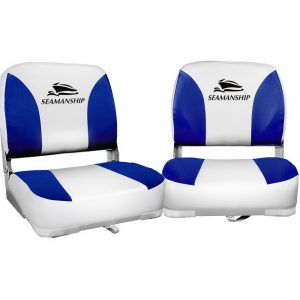 Seamanship Set of 2 Folding Swivel Boat Seats - White & Blue