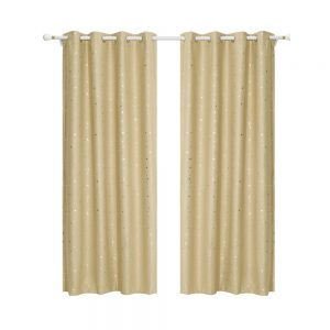 Art Queen 2 Star Blockout 180x180cm Blackout Curtains - Latte